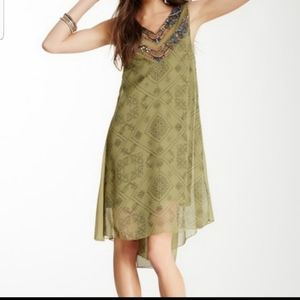 Free People Olive Green Beaded Shift Dress XS